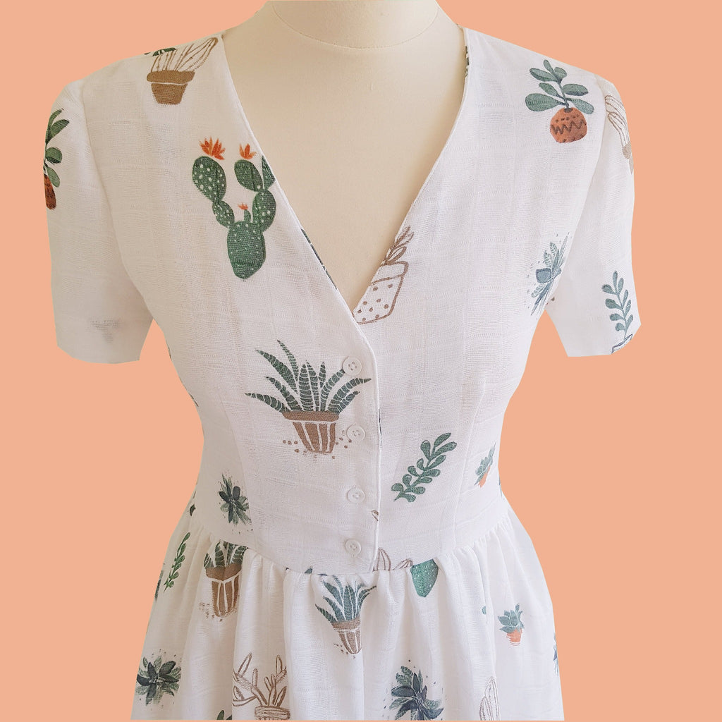 retro cactus dress print summer tea dress with button down front in white
