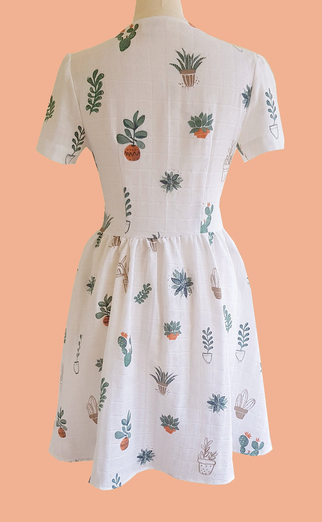 retro cactus print summer tea dress with button down front in white