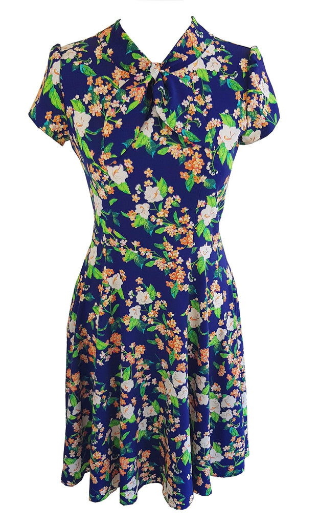 vintage inspired 1940s style retro floral print tea dress neck tie flower fit and flare mad men peggy zooey deschanel dress handmade sustainable clothing