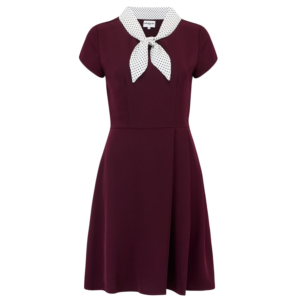 Burgundy Peggy dress 1940s vintage style tea dress