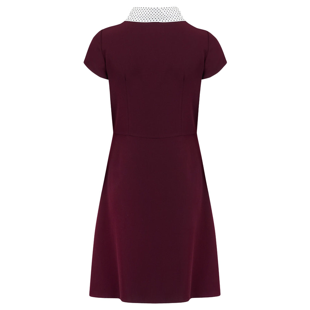 1940s style vintage inspired retro peggy dress in burgundy with polka dot sailor style collar fit and flare tea dress pleated a line skirt pin up