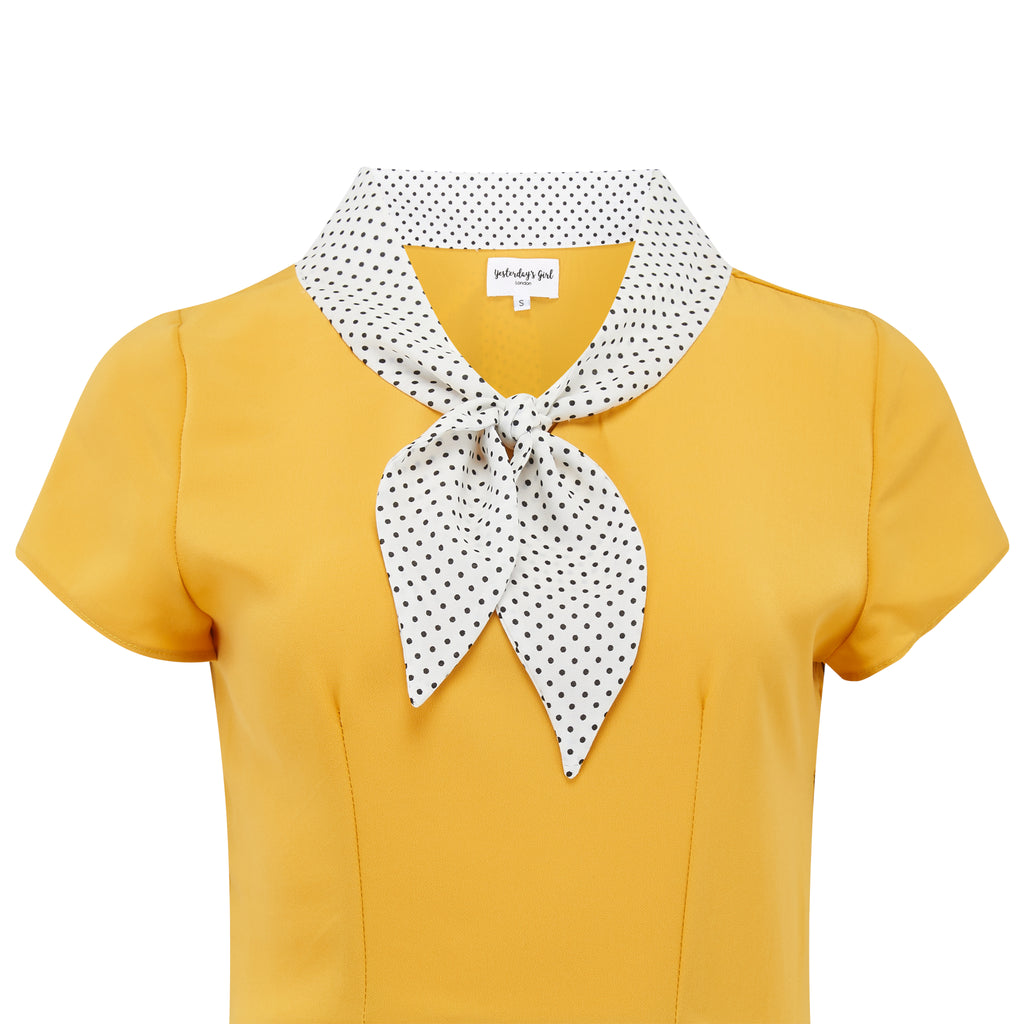 Mustard and polka dot 1940s vintage style Peggy tea dress