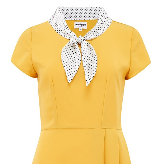 1940s style vintage inspired retro peggy dress in yellow mustard with polka dot sailor style collar fit and flare summer tea dress pleated a line skirt pin up