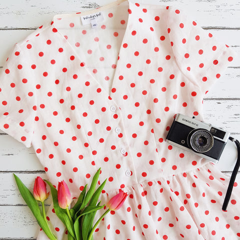 polka dot vintage tea dress summer fit flare dress retro