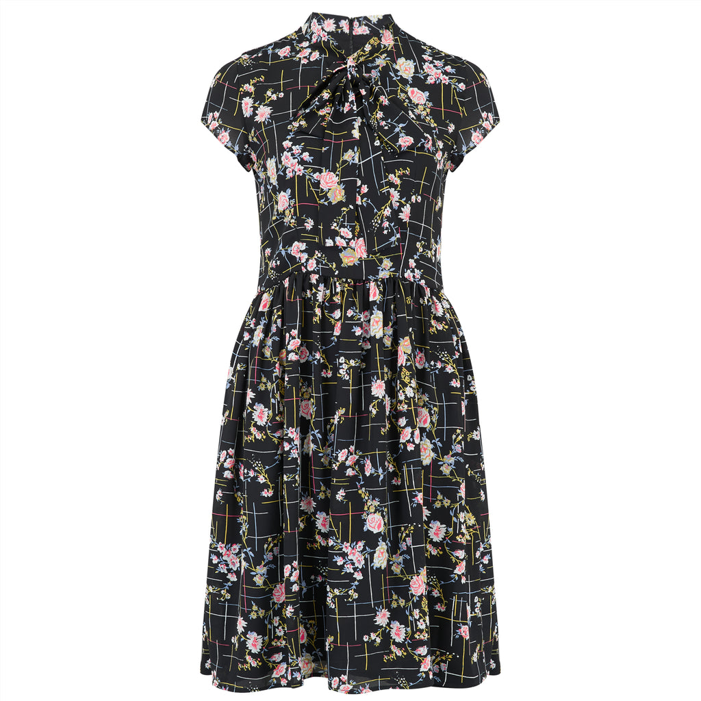 Vintage style black floral pussy bow dress with gathered skirt.