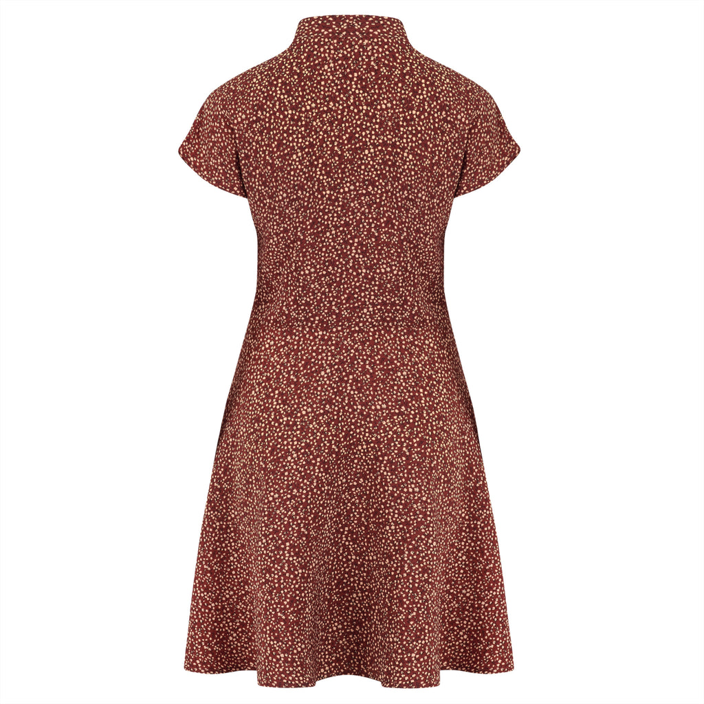 1940s style swing dress in retro polka dot print fabric
