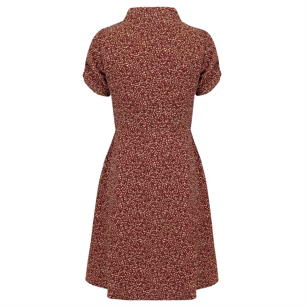 1930s style retro vintage inspired tea dress autumn winter pussy bow neck tie and copper rust polka dot print