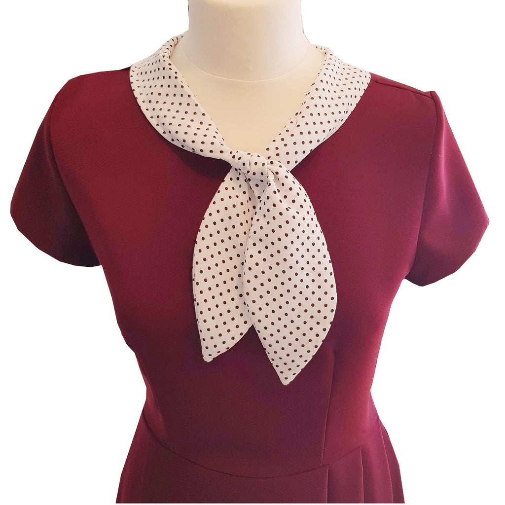 1940s style vintage inspired retro peggy dress in burgundy with polka dot sailor style collar fit and flare dress pleated a line skirt pin up