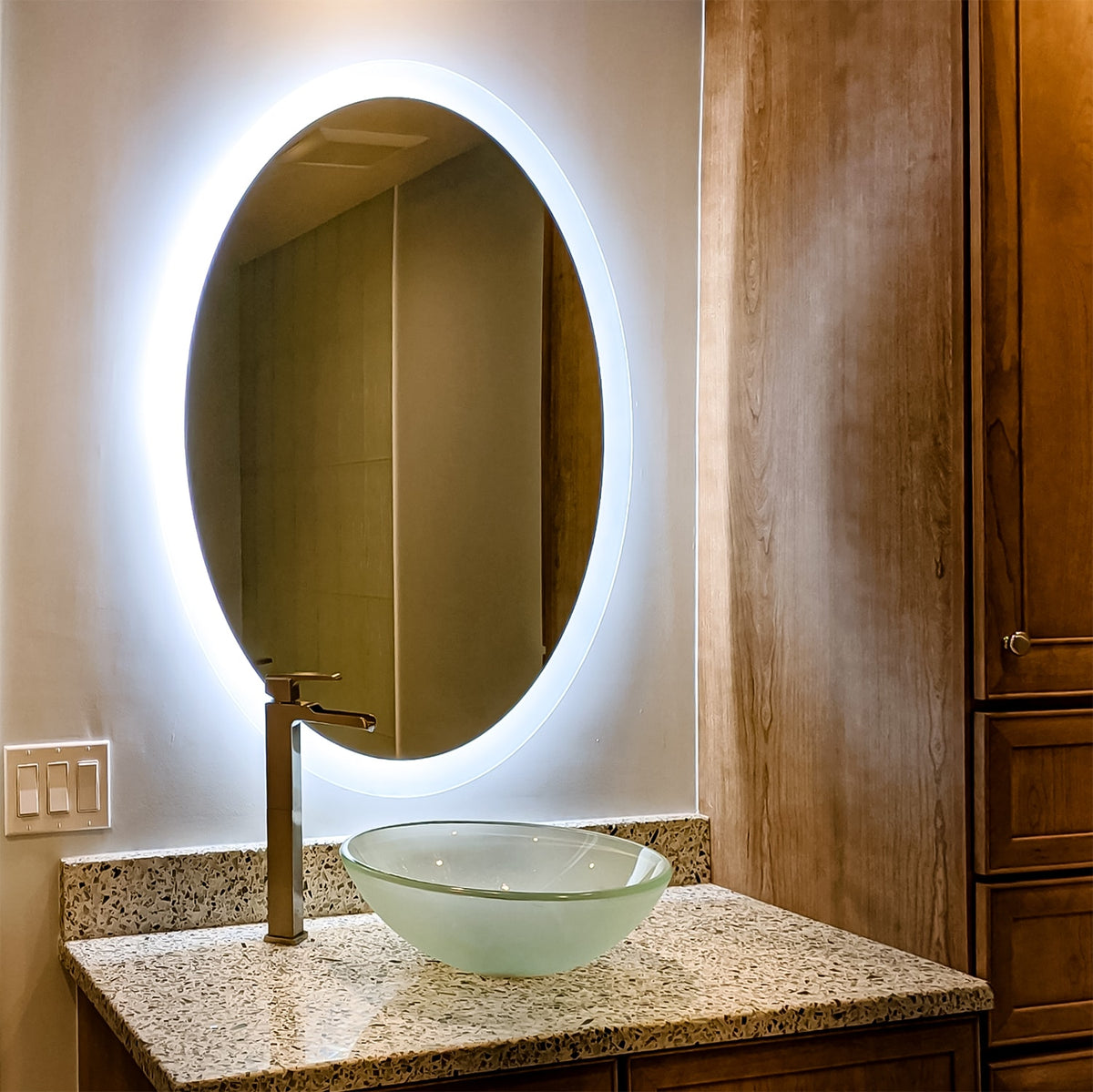 Shop Oval Side Lighted Led Mirrors Mirrors Marble