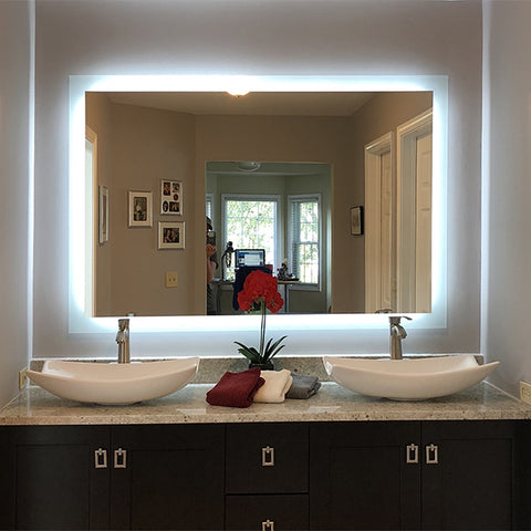 Shop Rectangular Side Lighted Led Mirrors Mirrors And Marble