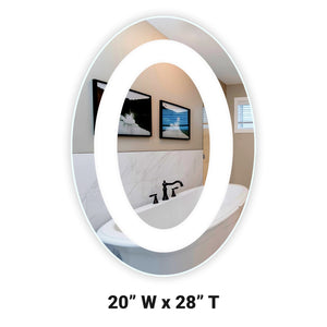 "Front-Lighted LED Bathroom Vanity Mirror: 20"" Wide x 28"" Tall - Oval - Wall-Mounted"