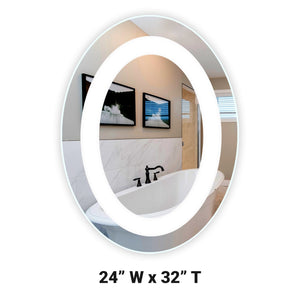 "Front-Lighted LED Bathroom Vanity Mirror: 24"" Wide x 32"" Tall - Oval - Wall-Mounted"