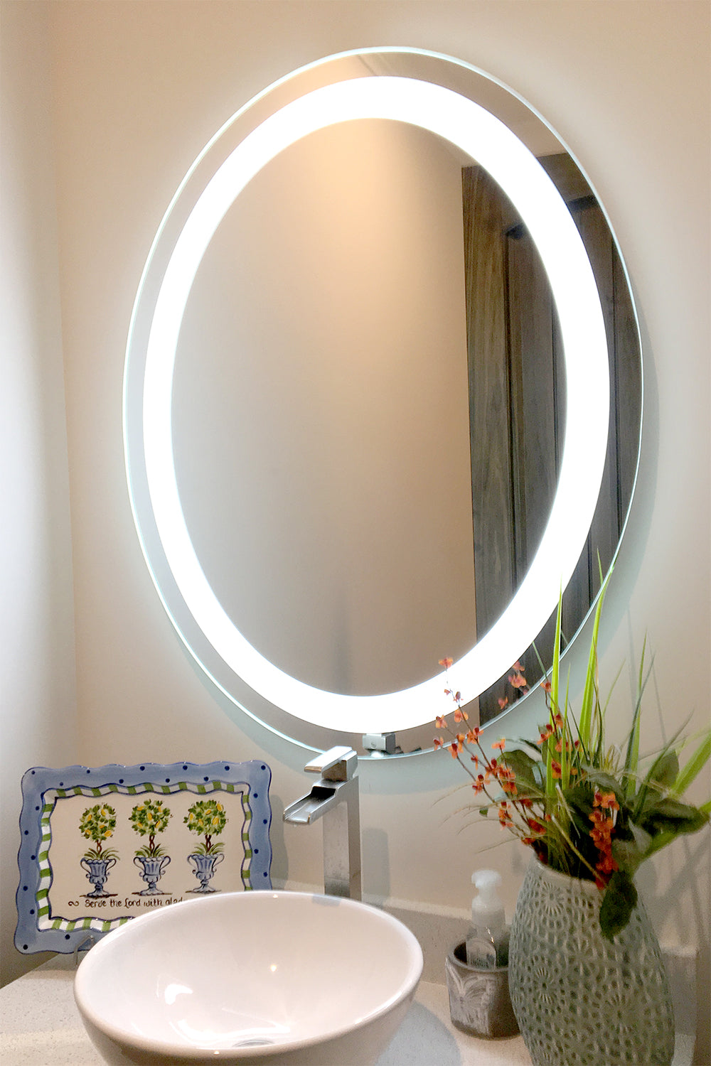 Front Lighted Led Bathroom Vanity Mirror 30 X 36 Oval Mirrors Marble