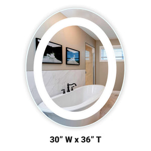 "Front-Lighted LED Bathroom Vanity Mirror: 30"" Wide x 36"" Tall - Oval - Wall-Mounted"
