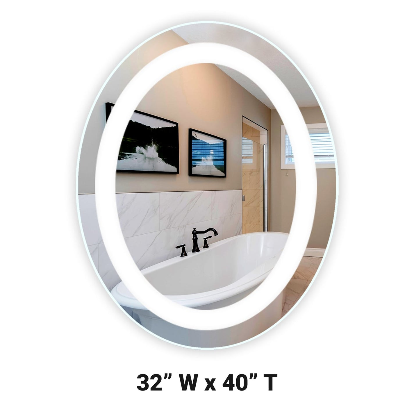 Front Lighted Led Bathroom Vanity Mirror 32 X 40 Oval Mirrors Marble