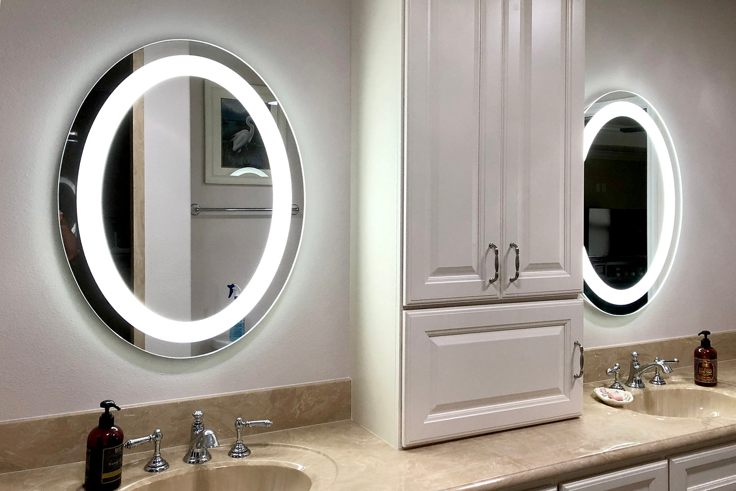 "Front-Lighted LED Bathroom Vanity Mirror: 20"" x 28"" - Oval ..."