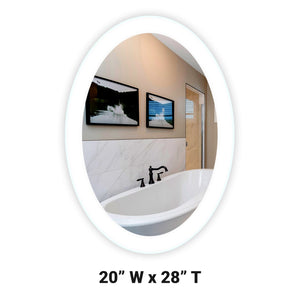 "Side-Lighted LED Bathroom Vanity Mirror: 20"" Wide x 28"" Tall - Oval - Wall-Mounted"