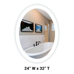 "Side-Lighted LED Bathroom Vanity Mirror: 24"" Wide x 32"" Tall - Oval - Wall-Mounted"