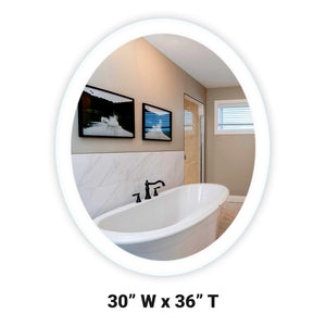 "Side-Lighted LED Bathroom Vanity Mirror: 30"" Wide x 36"" Tall - Oval - Wall-Mounted"