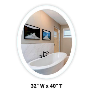"Side-Lighted LED Bathroom Vanity Mirror: 32"" Wide x 40"" Tall - Oval - Wall-Mounted"
