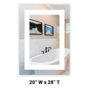 "Front-Lighted LED Bathroom Vanity Mirror: 20"" Wide x 28"" Tall - Rectangular - Wall-Mounted"