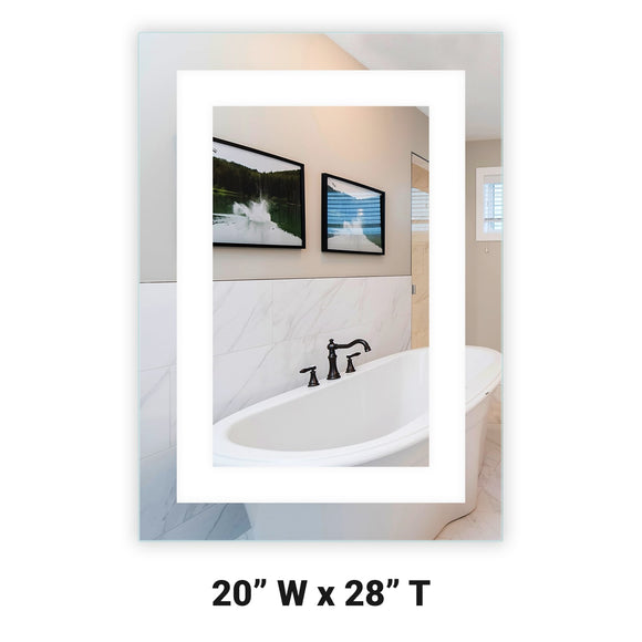 LED Bathroom Vanity Mirror Rectangular Front Lighted 20x28 A