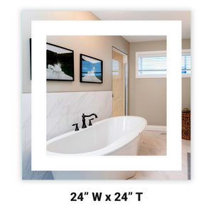 "Front-Lighted LED Bathroom Vanity Mirror: 24"" x 24"" - Square - Wall-Mounted"
