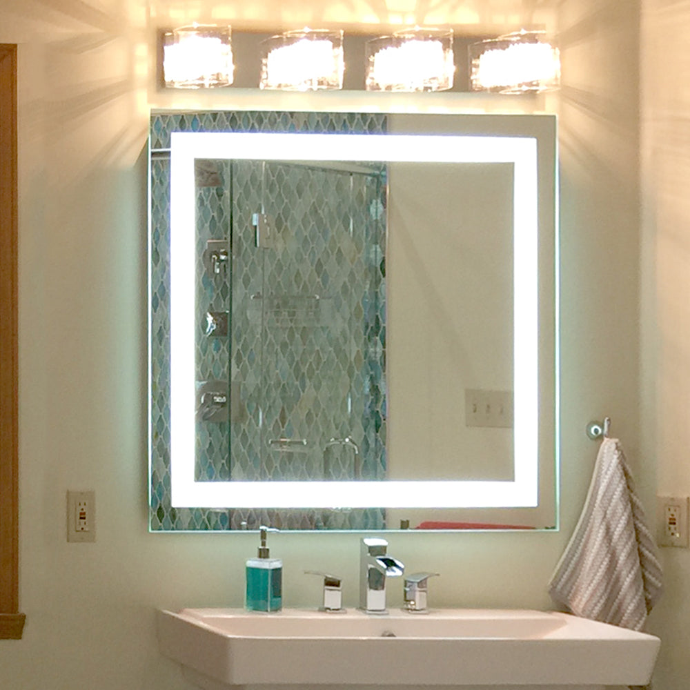 Front Lighted Led Bathroom Vanity Mirror 24 X 24 Square Mirrors Marble