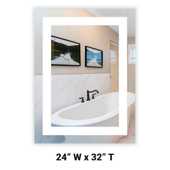 LED Bathroom Vanity Mirror Rectangular Front Lighted 24x32 A