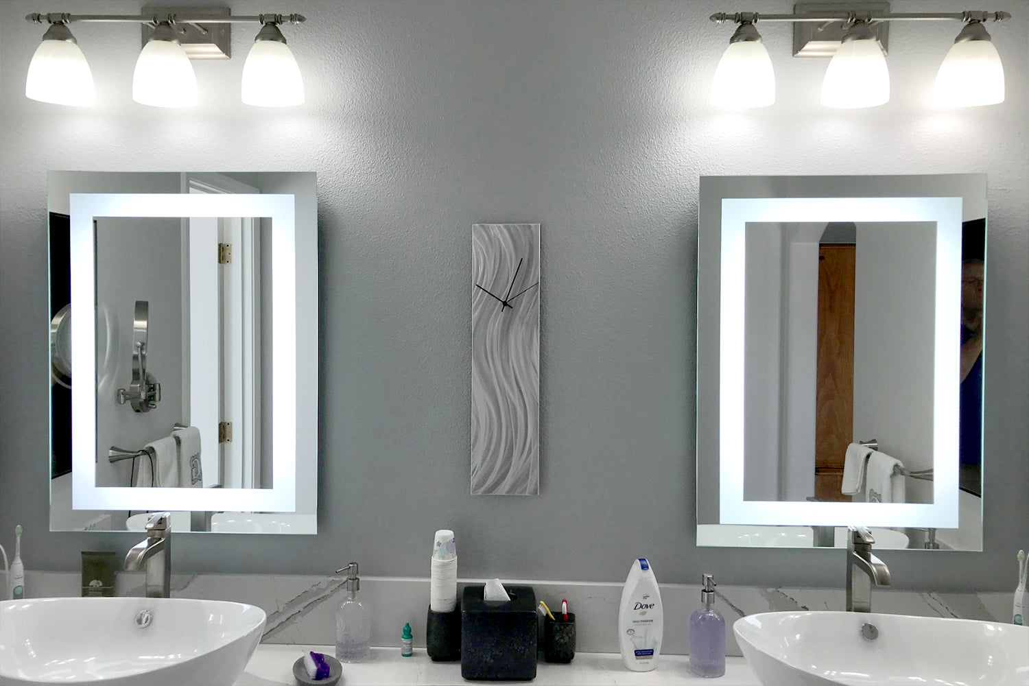 Front Lighted Led Bathroom Vanity Mirror 24 X 32 Rectangular Mirrors Marble