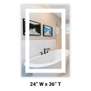 "Front-Lighted LED Bathroom Vanity Mirror: 24"" Wide x 36"" Tall - Rectangular - Wall-Mounted"