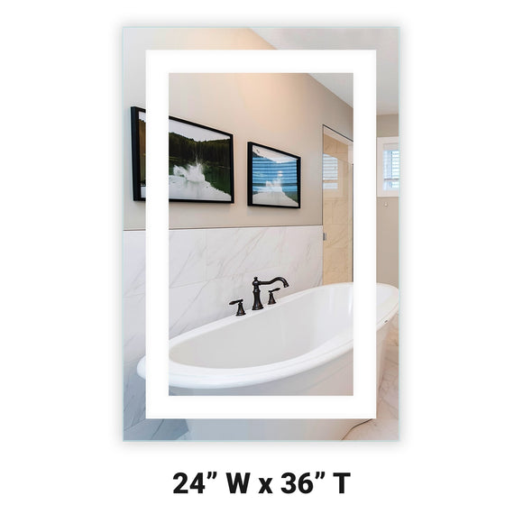 LED Bathroom Vanity Mirror Rectangular Front Lighted 24x36 A