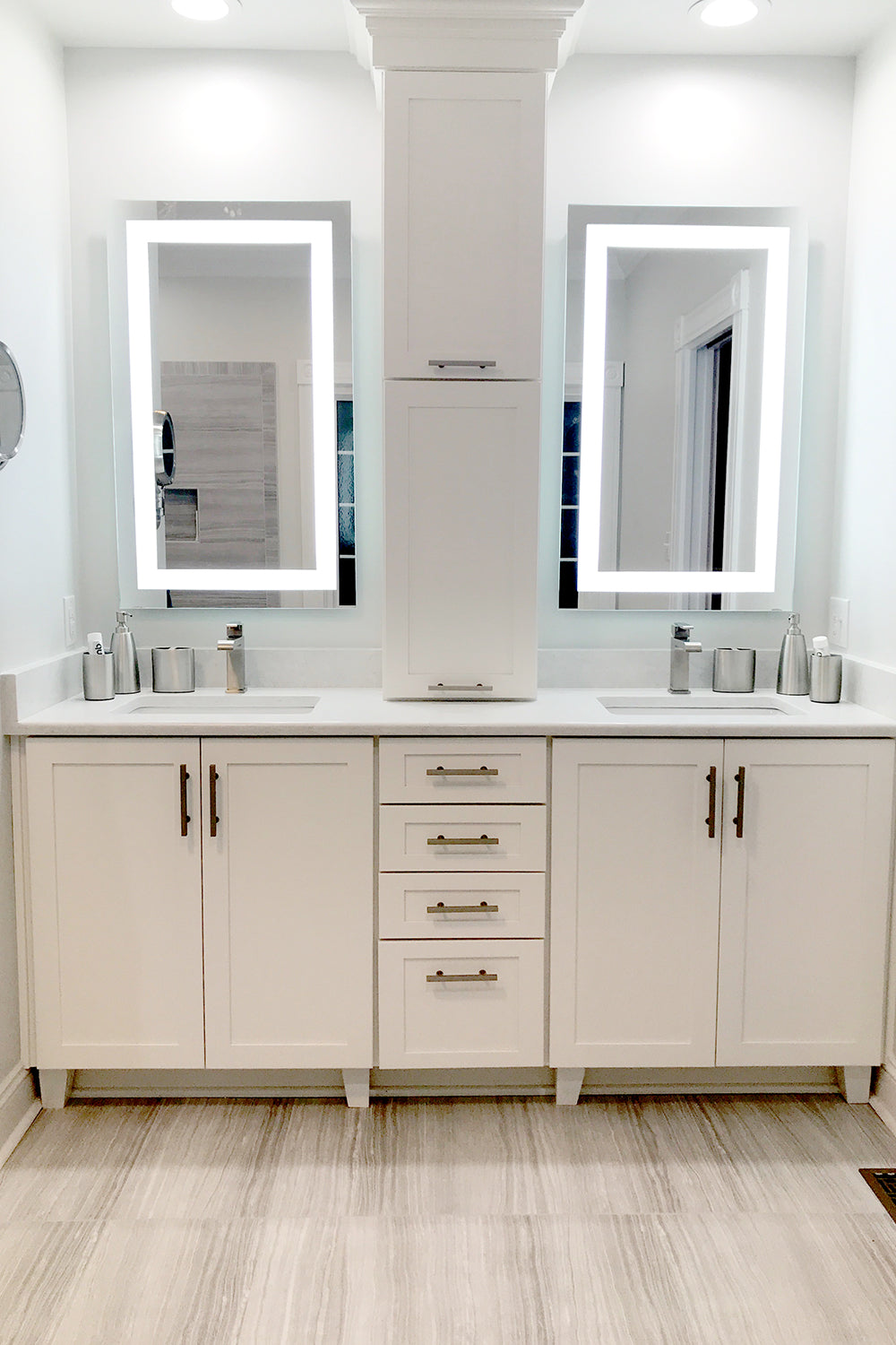 Front Lighted Led Bathroom Vanity Mirror 24 X 36 Rectangular Mirrors Marble