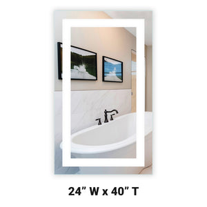 "Front-Lighted LED Bathroom Vanity Mirror: 24"" Wide x 40"" Tall - Rectangular - Wall-Mounted"
