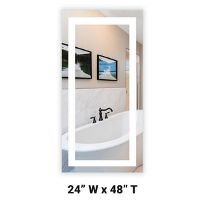 "Front-Lighted LED Bathroom Vanity Mirror: 24"" Wide x 48"" Tall - Rectangular - Wall-Mounted"
