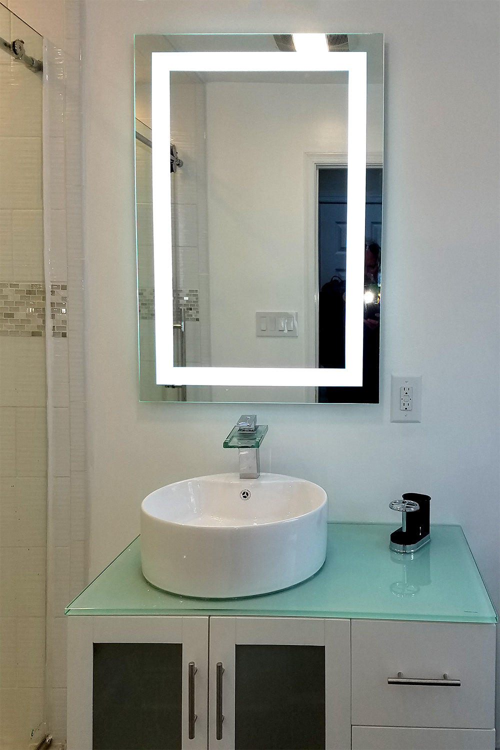 Marvelous Front Lighted Led Bathroom Vanity Mirror 24 X 48 Beutiful Home Inspiration Xortanetmahrainfo