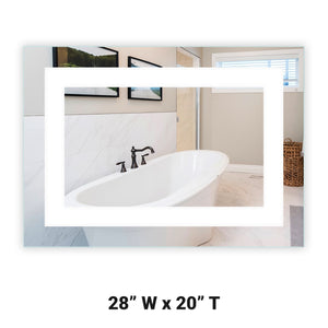 "Front-Lighted LED Bathroom Vanity Mirror: 28"" Wide x 20"" Tall - Rectangular - Wall-Mounted"