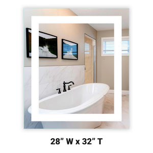 "Front-Lighted LED Bathroom Vanity Mirror: 28"" x 32"" - Rectangular - Wall-Mounted"