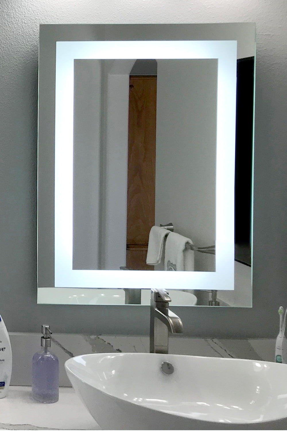 "Front-Lighted LED Bathroom Vanity Mirror: 28"" x 32 ..."