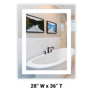 "Front-Lighted LED Bathroom Vanity Mirror: 28"" Wide x 36"" Tall - Rectangular - Wall-Mounted"