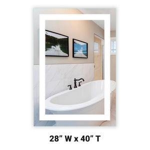 "Front-Lighted LED Bathroom Vanity Mirror: 28"" Wide x 40"" Tall - Rectangular - Wall-Mounted"