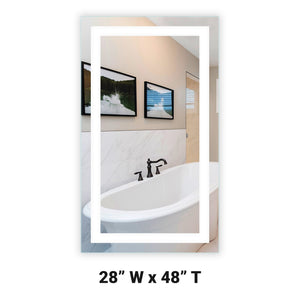 "Front-Lighted LED Bathroom Vanity Mirror: 28"" Wide x 48"" Tall - Rectangular - Wall-Mounted"