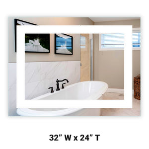 "Front-Lighted LED Bathroom Vanity Mirror: 32"" Wide x 24"" Tall - Rectangular - Wall-Mounted"