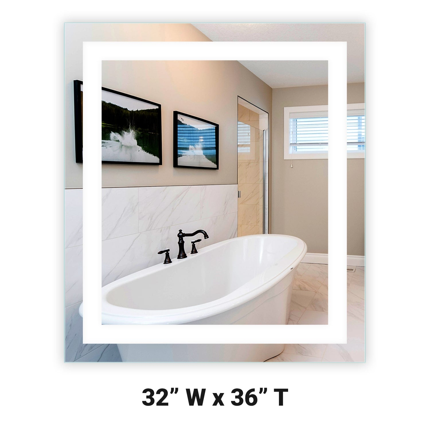 Front Lighted Led Bathroom Vanity Mirror 32 X 36 Rectangular Mirrors Marble