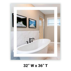 "Front-Lighted LED Bathroom Vanity Mirror: 32"" Wide x 36"" Tall - Rectangular - Wall-Mounted"
