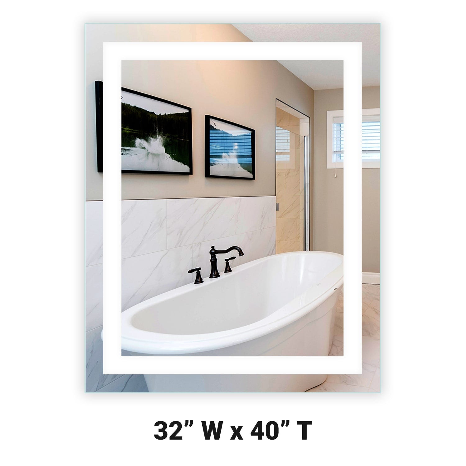 Front Lighted Led Bathroom Vanity Mirror 32 X 40 Rectangular Mirrors Marble