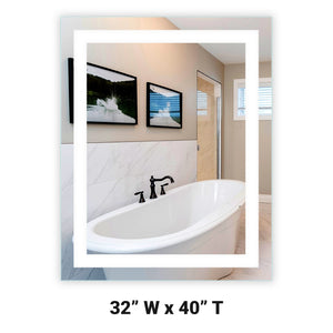 "Front-Lighted LED Bathroom Vanity Mirror: 32"" Wide x 40"" Tall - Rectangular - Wall-Mounted"