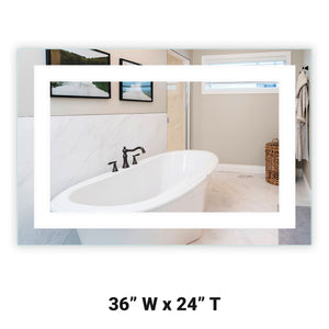 "Front-Lighted LED Bathroom Vanity Mirror: 36"" Wide x 24"" Tall - Rectangular - Wall-Mounted"