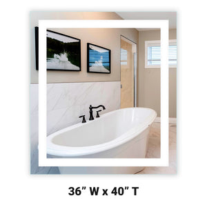 "Front-Lighted LED Bathroom Vanity Mirror: 36"" Wide x 40"" Tall - Rectangular - Wall-Mounted"