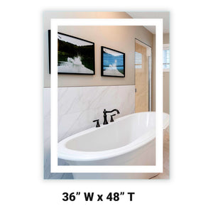 "Front-Lighted LED Bathroom Vanity Mirror: 36"" Wide x 48"" Tall - Rectangular - Wall-Mounted"
